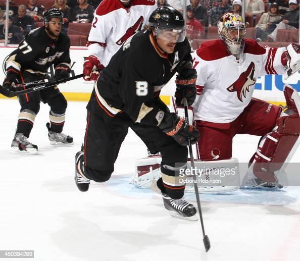 Teemu Selanne of the Anaheim Ducks skates during the game against the Phoenix Coyotes on November 6 2013 at Honda Center in Anaheim California