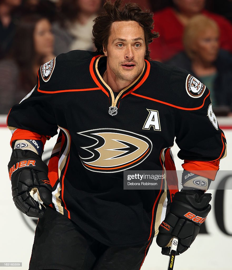 Teemu Selanne #8 of the Anaheim Ducks skates during warmups before the game against the Minnesota Wild on March 1, 2013 at Honda Center in Anaheim, California.