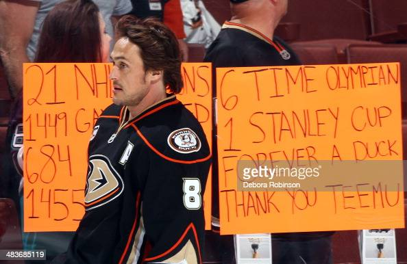 Teemu Selanne of the Anaheim Ducks skates during warmups before the game against the San Jose Sharks on April 9 2014 at Honda Center in Anaheim...