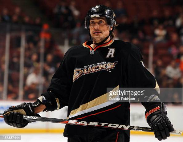 Teemu Selanne of the Anaheim Ducks skates on the ice against the Phoenix Coyotes during the game on January 18 2012 at Honda Center in Anaheim...