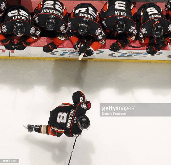 Teemu Selanne of the Anaheim Ducks skates past the Anaheim Ducks bench during the game against the San Jose Sharks on February 2 2011 at Honda Center...
