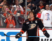 Teemu Selanne of the Anaheim Ducks smiles before the game against the Colorado Avalanche after the game on April 13 2014 at Honda Center in Anaheim...