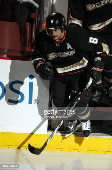 Teemu Selanne of the Anaheim Ducks steps onto the ice for the game against the San Jose Sharks on March 25 2013 at Honda Center in Anaheim California...