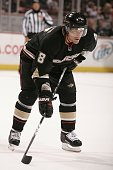 Teemu Selanne of the Anaheim Ducks waits on the ice during a face off during the game against the Tampa Bay Lighting on November 19 2009 at Honda...