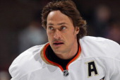 Teemu Selanne of the Anaheim Ducks warms up prior to facing the Colorado Avalanche at the Pepsi Center on March 12 2012 in Denver Colorado Selanne...