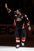 Teemu Selanne of the Anaheim Ducks waves to the fans after the game against the Colorado Avalanche on April 13 2014 at Honda Center in Anaheim...