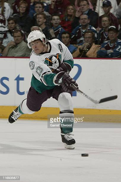 Teemu Selanne of the Mighty Ducks of Anaheim shoots against the Colorado Avalanche during Game 3 of the Western Conference Semifinals on May 9 2006...