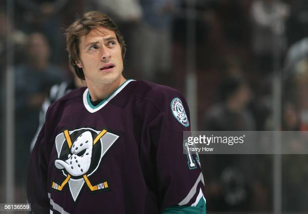 Teemu Selanne of the Mighty Ducks of Anaheim warms up against the Nashville Predators before the game at the Arrowhead Pond on November 1 2005 in...