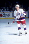 Teemu Selanne of the Winnipeg Jets skates on the ice during an NHL game in March 1995 at the Winnipeg Arena in Winnipeg Manitoba Canada