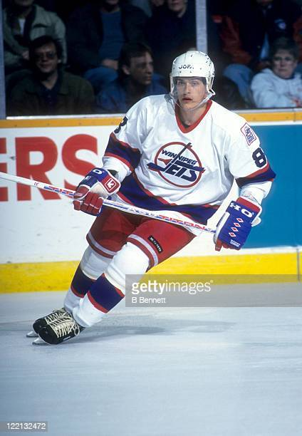 Teemu Selanne of the Winnipeg Jets skates on the ice during an NHL game circa 1995 at the Winnipeg Arena in Winnipeg Manitoba Canada