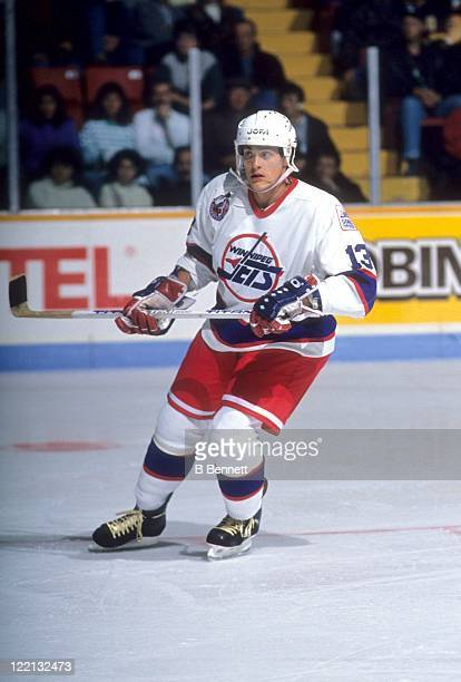 Teemu Selanne of the Winnipeg Jets skates on the ice during an NHL game circa 1992 at the Winnipeg Arena in Winnipeg Manitoba Canada