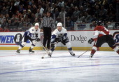 Teemu Selanne of the World and Mighty Ducks of Anaheim skates on ice during the 1998 48th NHL AllStar Game against North America on January 18 1998...