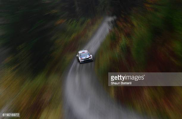 Teemu Suninen and co driver Mikko Markkula of Finland and Team Oreca during the FIA World Rally Championship Great Britain Dyfi stage on October 29...