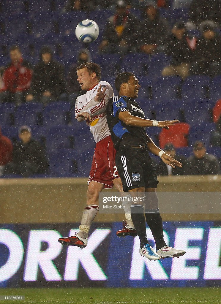 Teemu Tainio #2 of the New York Red Bulls and Ryan Johnson #19 of the San Jose Earthquakes battle for the ball on April 16, 2011 at Red Bull Arena in Harrison, New Jersey.