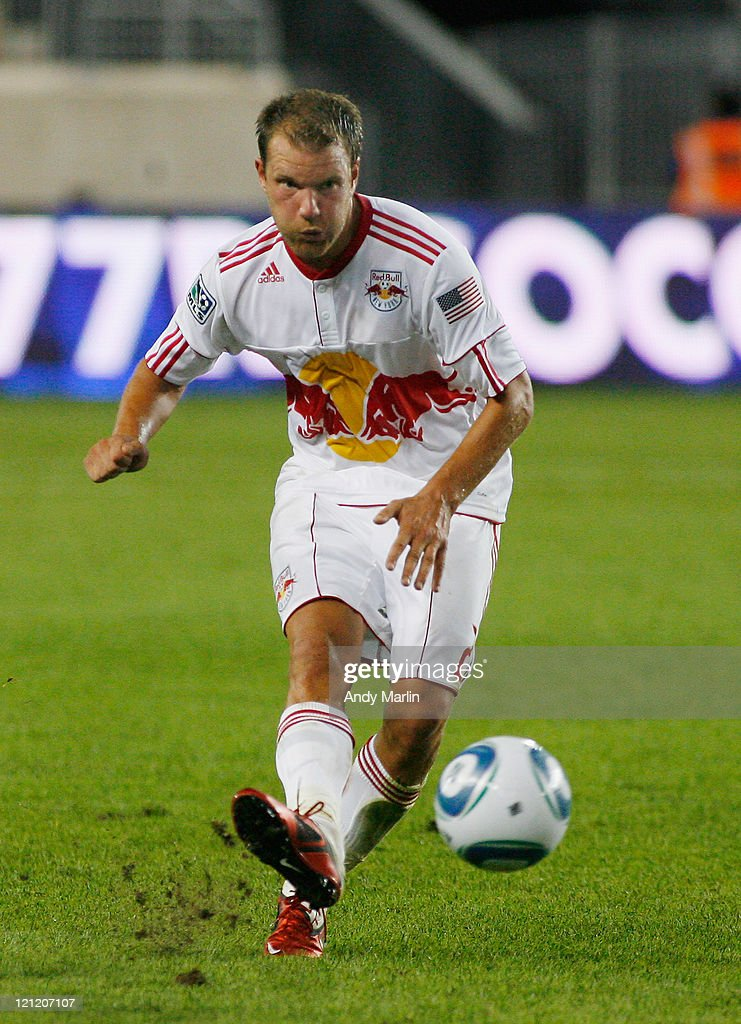 Teemu Tainio #2 of the New York Red Bulls plays the ball against the Chicago Fire during the game at Red Bull Arena on August 13, 2011 in Harrison, New Jersey.