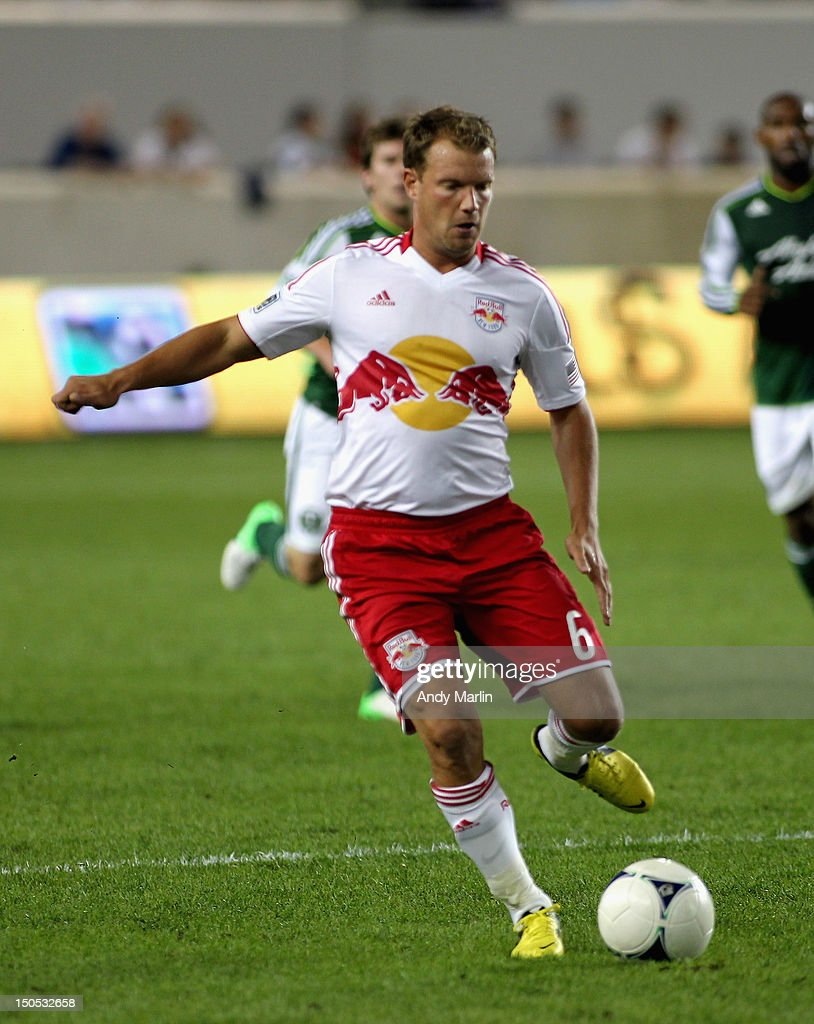 Teemu Tainio #6 of the New York Red Bulls plays the ball during the match against the Portland Timbers at Red Bull Arena on August 19, 2012 in Harrison, New Jersey.