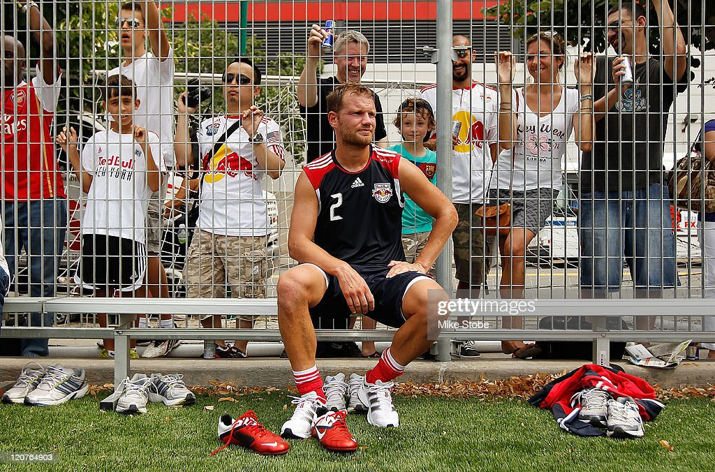 Teemu Tainio #2 of the New York Red Bulls takes a break during an open practice on August 9, 2011 at Chelsea Waterside Park in New York City.