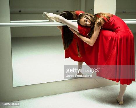 Teen Ballerina poses at Barre #2