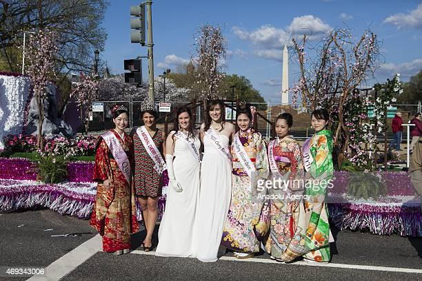 Teen Beauty Queens from around the country pose for a photo before the National Cherry Blossom Festival and Parade in Washington USA on April 11 2015
