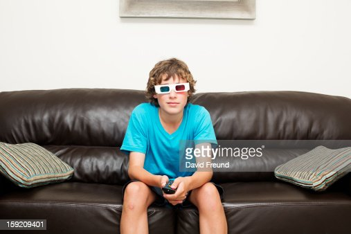 Teen Boy 3D Television : Stock Photo