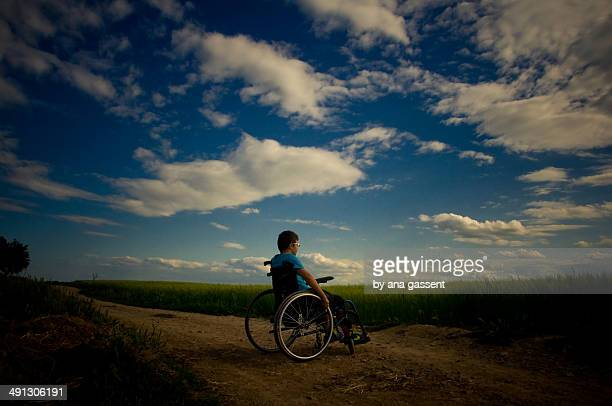 Teen boy in wheelchair