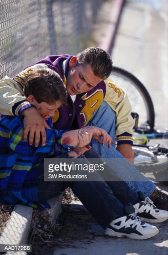 Young boy comforting lonely widow