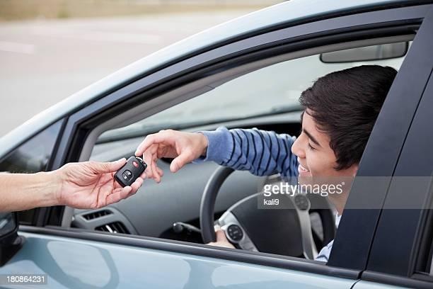 Teen driver getting car keys