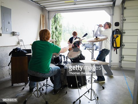 Teen garage band playing rearview