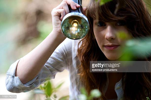 teen girl outdoor flashlight portraits