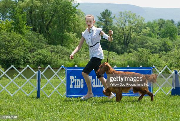 Teen girl showing her Irsih Setter dog in show