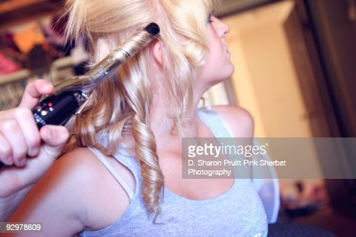 Masterbating with curling iron