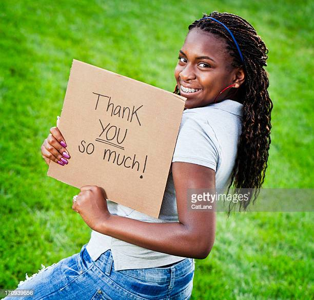 Teen Girl with Thank You Sign