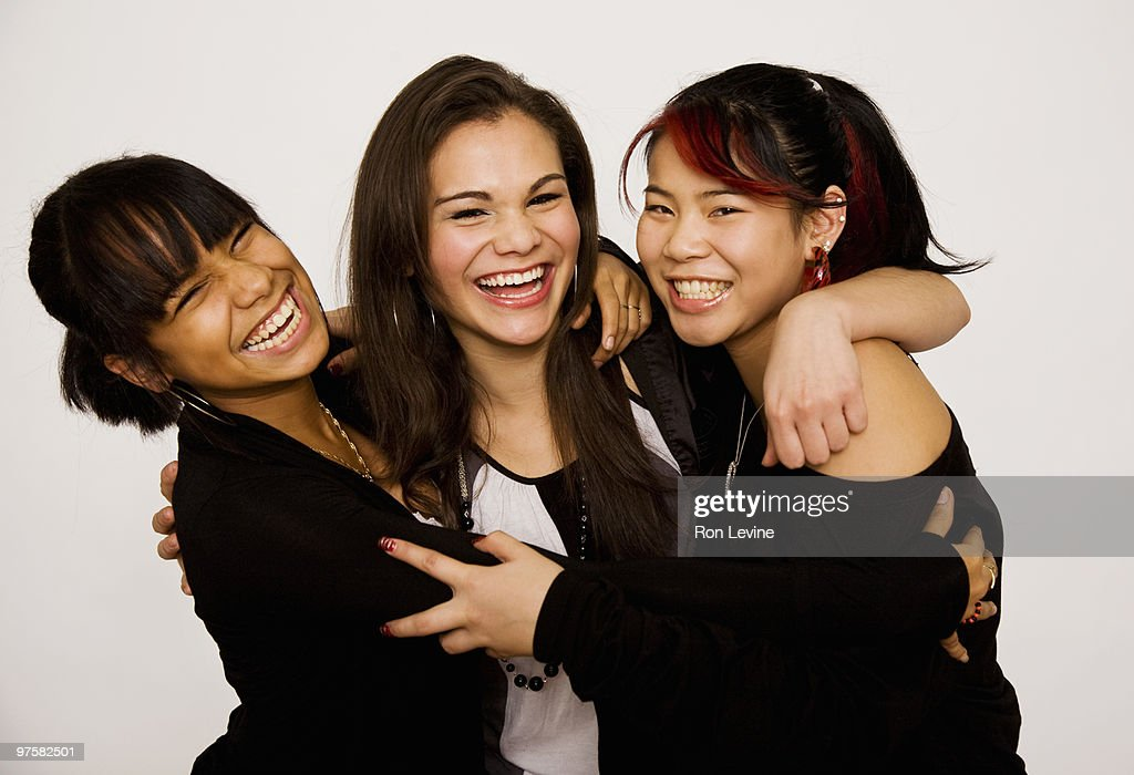 Teen girls laughing, portrait : Stock Photo