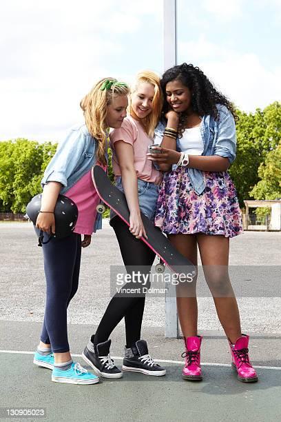 Teen girls texting