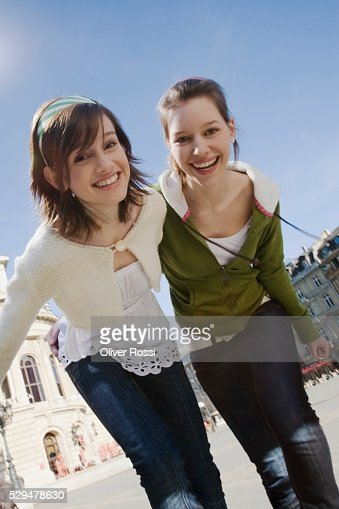 Teen girls walking together : Stock Photo