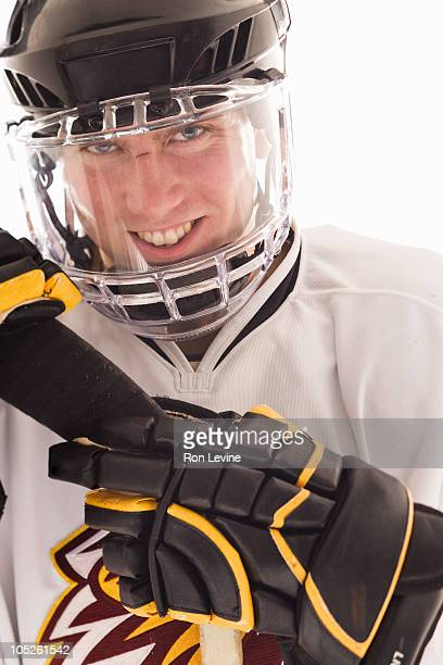 Teen hockey player, portrait