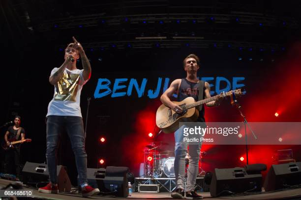Teen idols Benji and Fede perform live in Turin Benji and Fede are two musicians idols for teenagers perform live in Turin