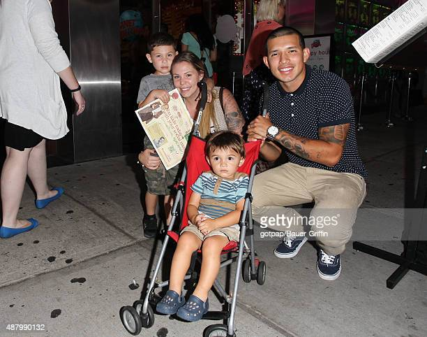 Teen Mom 2's Kailyn Lowry Javi Marroquin with sons Lincoln and Isaac Marroquin are seen on September 12 2015 in New York City
