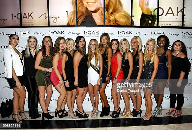 Teen Moms OG star Maci Bookout arrives with friends at her bachelorette party at 1 OAK Las Vegas in the Mirage Hotel and Casino September 2 2016 in...