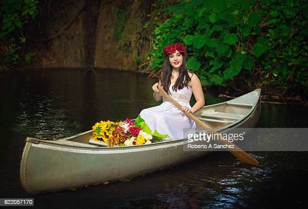 Teen on canoe