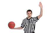 """A 17 year old referee gives the sign for """"inbound pass."""""""