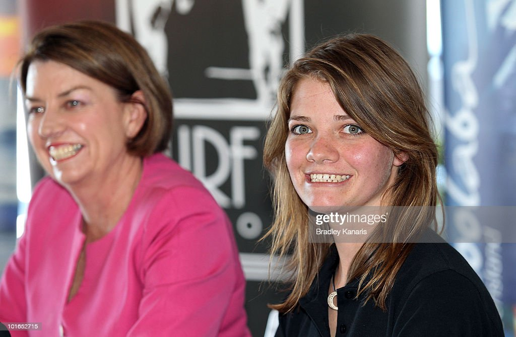 Teen sailor Jessica Watson and Queensland Premier Anna Bligh (L) speak at a press conference after arriving back to her hometown of Mooloolaba on June 6, 2010 on the Sunshine Coast, Australia. Watson returned to Australia to a hero's welcome on May 15 after sailing solo, non-stop and unassisted around the globe, completing the journey in 210 days.