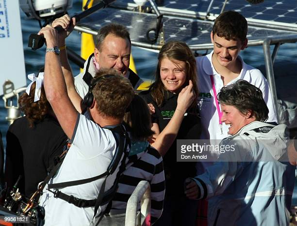 Teen sailor Jessica Watson arrives back home in Sydney and is greeted father Roger brother Tom and mother Julie following her world record attempt to...