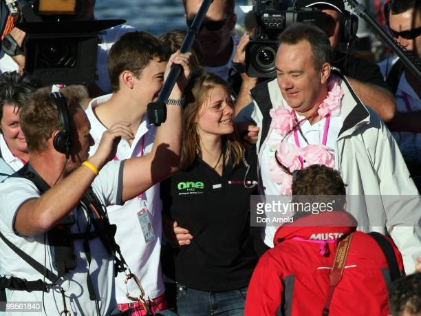 Teen sailor Jessica Watson arrives back home in Sydney and is greeted by father Roger brother Tom and mother Julie following her world record attempt...