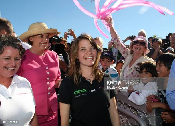 Teen sailor Jessica Watson is welcomed back to her hometown of Mooloolaba on June 6 2010 on the Sunshine Coast Australia Watson returned to Australia...