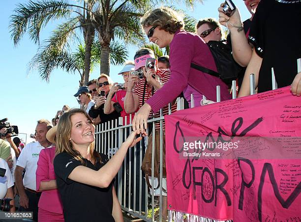 Teen sailor Jessica Watson is welcomed home by a crowd of well wishers after arriving back to her hometown of Mooloolaba on June 6 2010 on the...