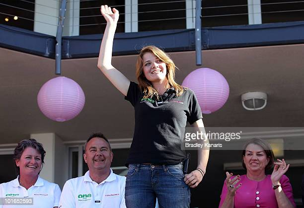 Teen sailor Jessica Watson waves to the crowd as she is welcomed back to her hometown of Mooloolaba on June 6 2010 on the Sunshine Coast Australia...