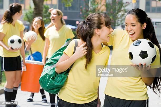 Teen soccer players