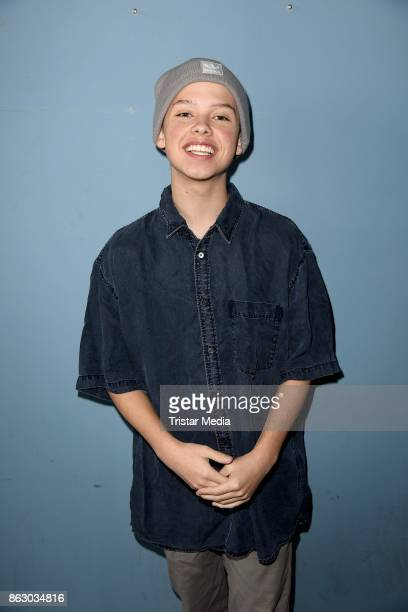 US teen star and singer Jacob Sartorius poses for pictures before his concert on October 19 2017 in Berlin Germany