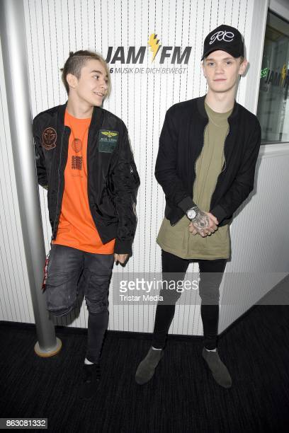 UK teen stars and singer Leondre Devries and Charlie Lenehan of the duo 'Bars Melody' during their visit at JAM FM Radio Station on October 19 2017...